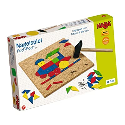 HABA Geo Shape Tack Zap Play Set - Make Geometric Designs with Corkboard, Hammer, Templates and 50 Wooden Tiles (Made in Germany): Toys & Games