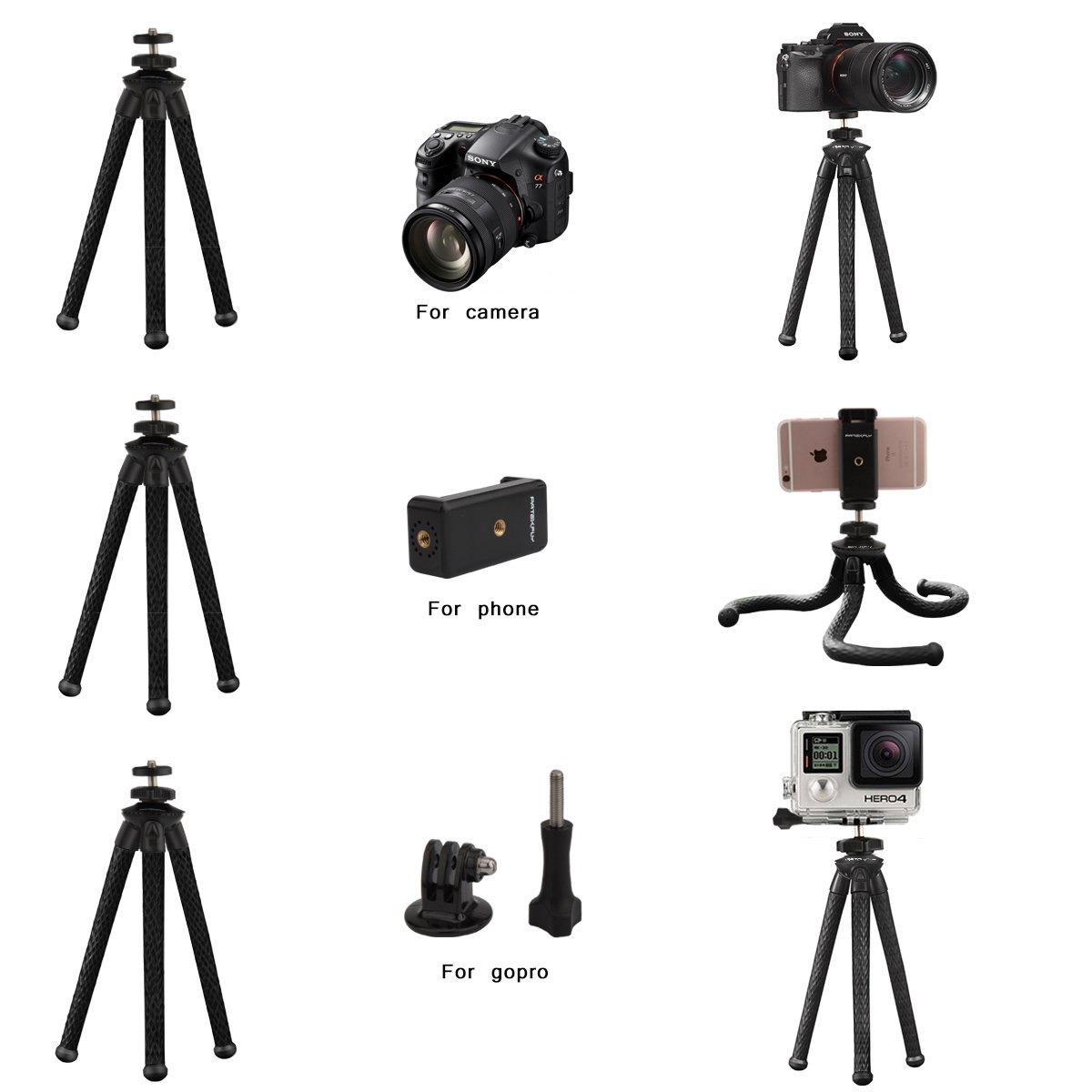 Camera//Phone Tripod,Patekfly 12 Inch Flexible Camera Tripod for GoPro//Canon//Nikon//Sony DSLR Cam//Gopro Action Cam Phone Tripod Stand with Cell Phone Holder Clip for iPhone//Android Phone 3 in 1