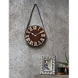 Decorative Wall Clock Roman Numerals Design Brown Wooden Large Vintage Kitchen Hanging with Leather Strap Round Clock Gift Home for Room 11 inches