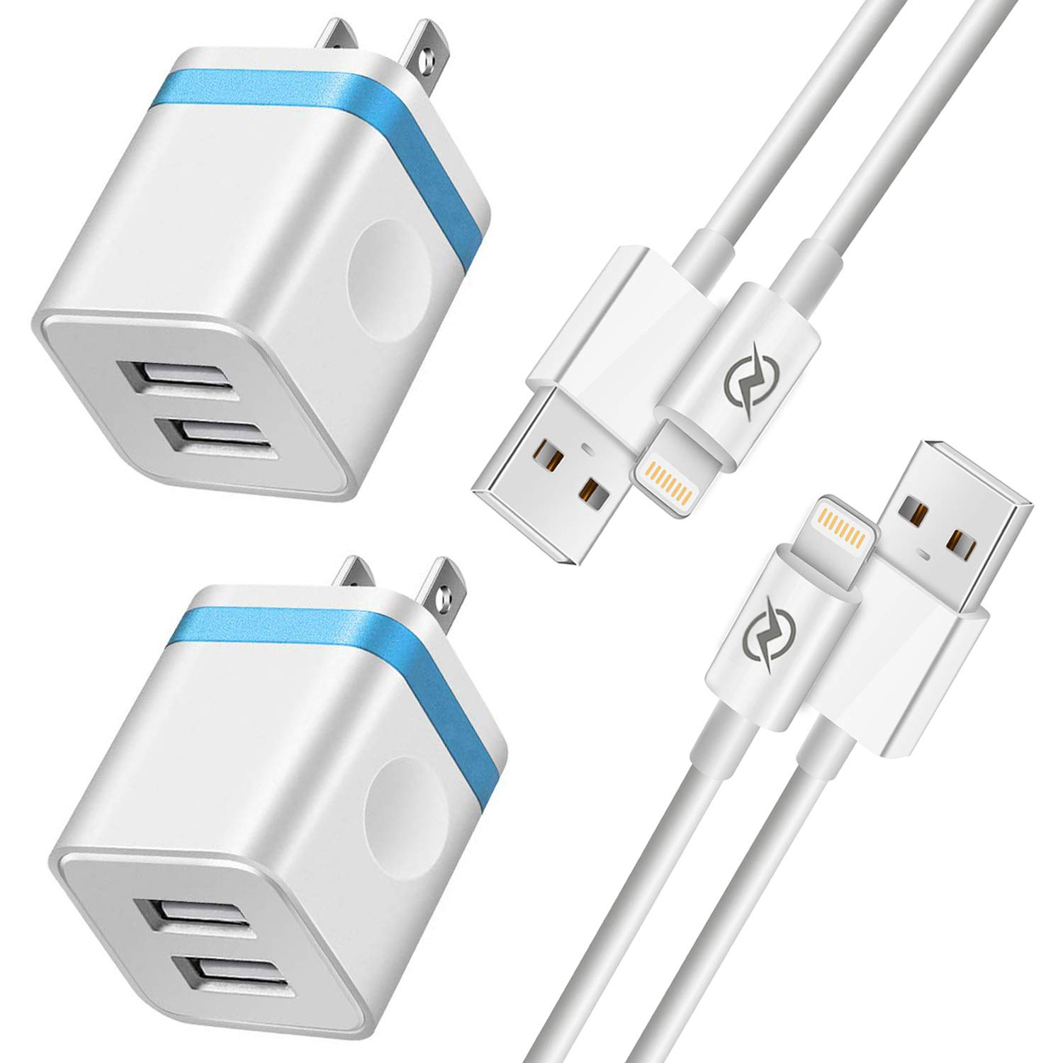 NNICE Phone Charger 6Ft with Plug, 6 Foot Fast Charging Cable Sync Cord and Dual Port UL Certified USB Wall Charger Adapter Compatible with Phone XS/XS Max/XR/X/ 8/7/ 6S Plus, 5C/ 5S/ SE(4 in I) by NNICE