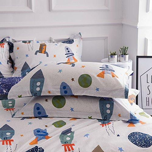 BuLuTu Cotton Space Rocket Print Bed Pillowcases Set of 2 Queen White Universe Adventure Theme Star Kids Pillow Covers Decorative Standard For Boys Girls Envelope Closure End (2 Pieces,20
