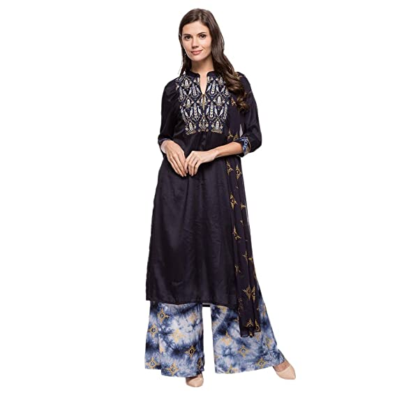 8675ea75918 Haute Curry Womens Mandarin Neck Embroidered Palazzo Suit  Amazon.in   Clothing   Accessories