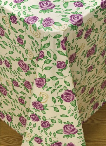 Rose Time Flannel Backed Vinyl Tablecloth, 60-Inch by 84-Inch Oblong (Rectangle) with Umbrella Hole and Zipper (Umbrellas Garden Oblong)
