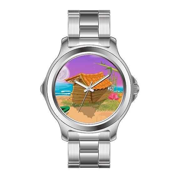 ... inoxidable reloj de pulsera de cuarzo japonés de casetas de playa sobre luna playa casetas de playa de dibujos animados relojes: Amazon.es: Relojes