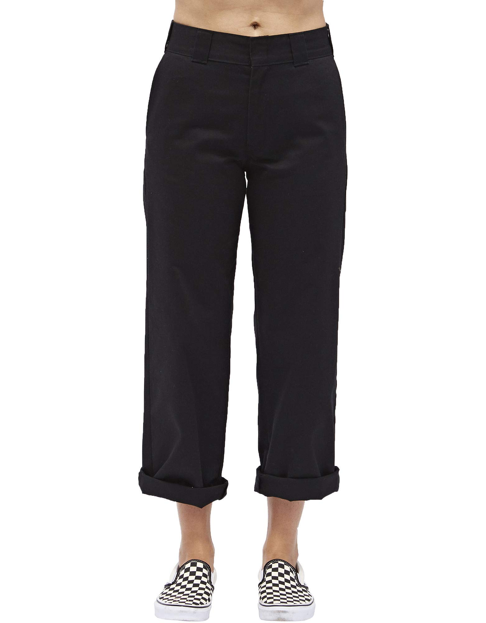 Dickies Girl Juniors' Roll Hem 26'' High-Rise Work Crop Pants (Black, 1)