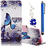 Apple iPhone SE/5G/5S Case, Boince 3 in 1 Accessory Book Style Magnetic Snap PU Leather Flip Wallet Case + [Diamond Antidust Plug] + [Metal Stylus Pen] Anti Scratch Shockproof Full Body Skin Cover Protective Bumper-Blue Butterfly