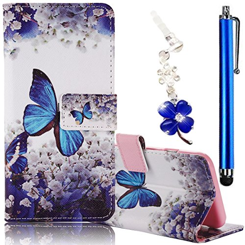 Samsung Galaxy J7 (2015) Case, Boince 3 in 1 Accessory Magnetic Snap PU Leather Flip Wallet Case + [Diamond Antidust Plug] + [Metal Stylus Pen] Anti Scratch Shockproof Protective Bumper-Blue Butterfly