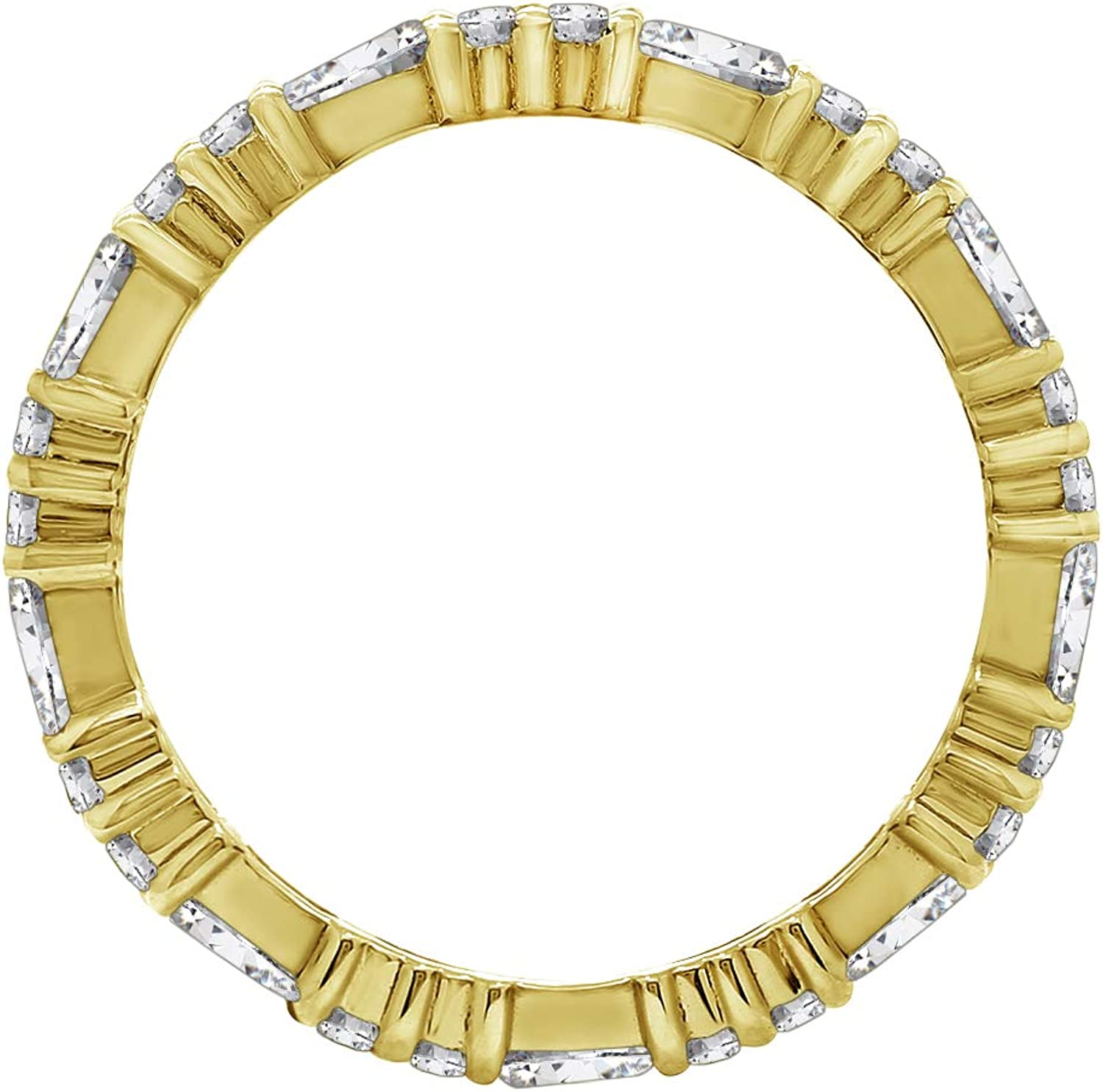 KIERA COUTURE RING BAR White Baguette Cut Yellow Gold Plated Sterling Silver Eternity Band Ring