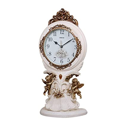 Family Fireplace Clocks Clock Desk Clock, Silent Resin Without Ticking Decoration ó N for Living