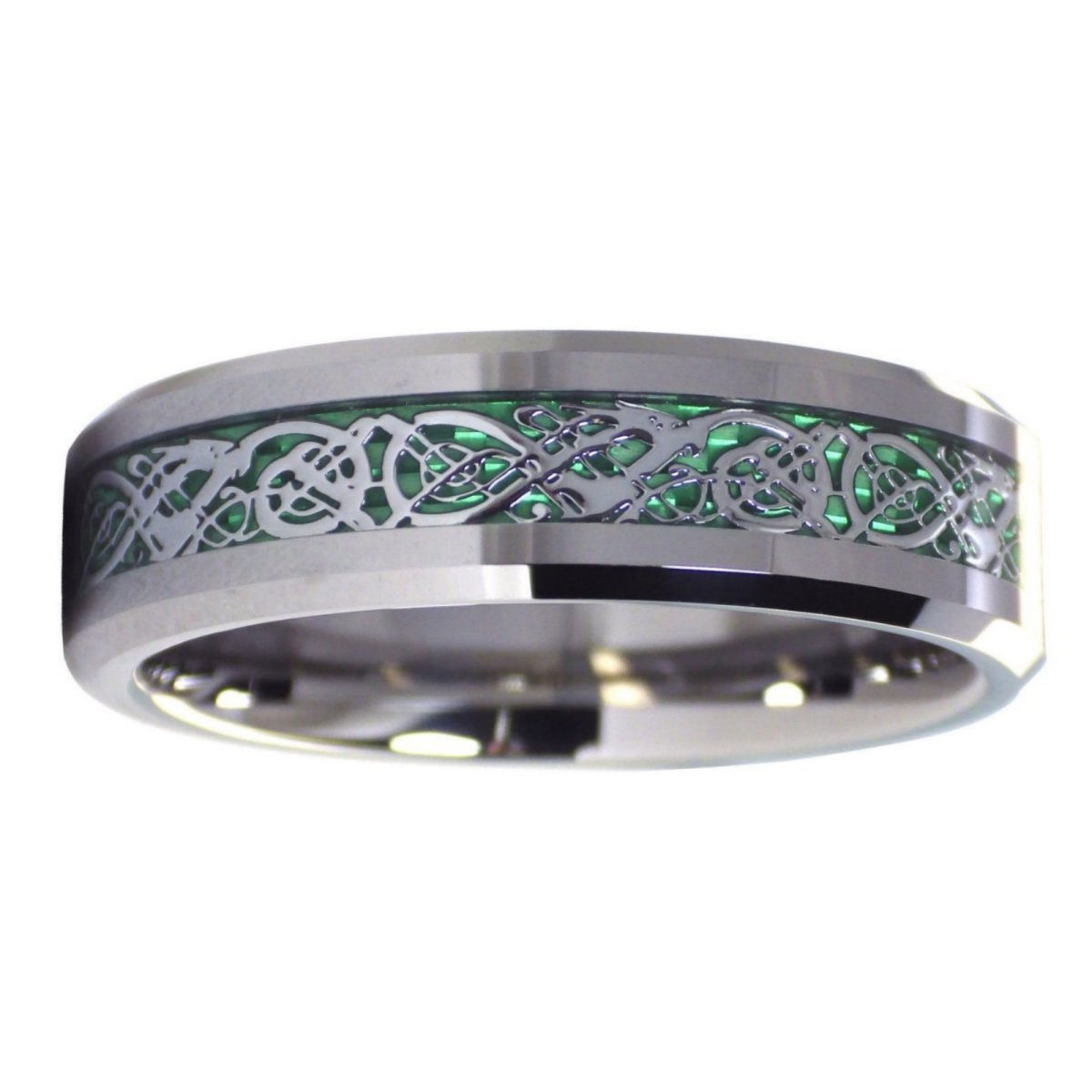 Fantasy Forge Jewelry Celtic Dragon Tungsten Ring Green Carbon Fiber Wedding Band 6MM Size 6.5