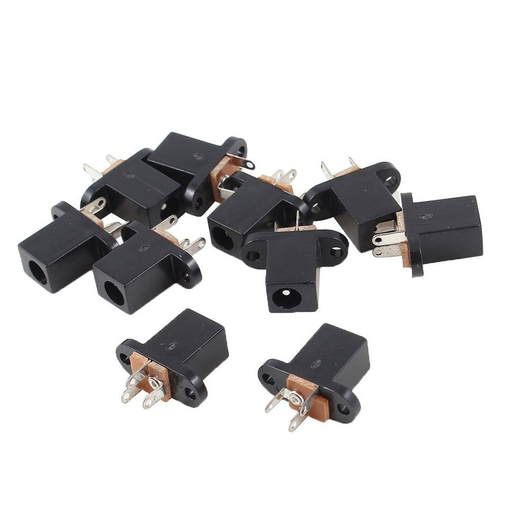 TOOGOO 10 Pieces 3 Pins 4.0mm x 1.7mm DC Power Jack Connector Female PCB Bracket