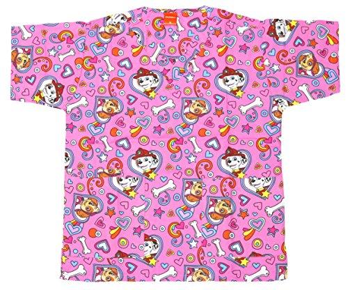 Paw Scrub - Nickelodeon Ladies Cartoon Pediatric Scrub Top (M, Paw Patrol Pink)
