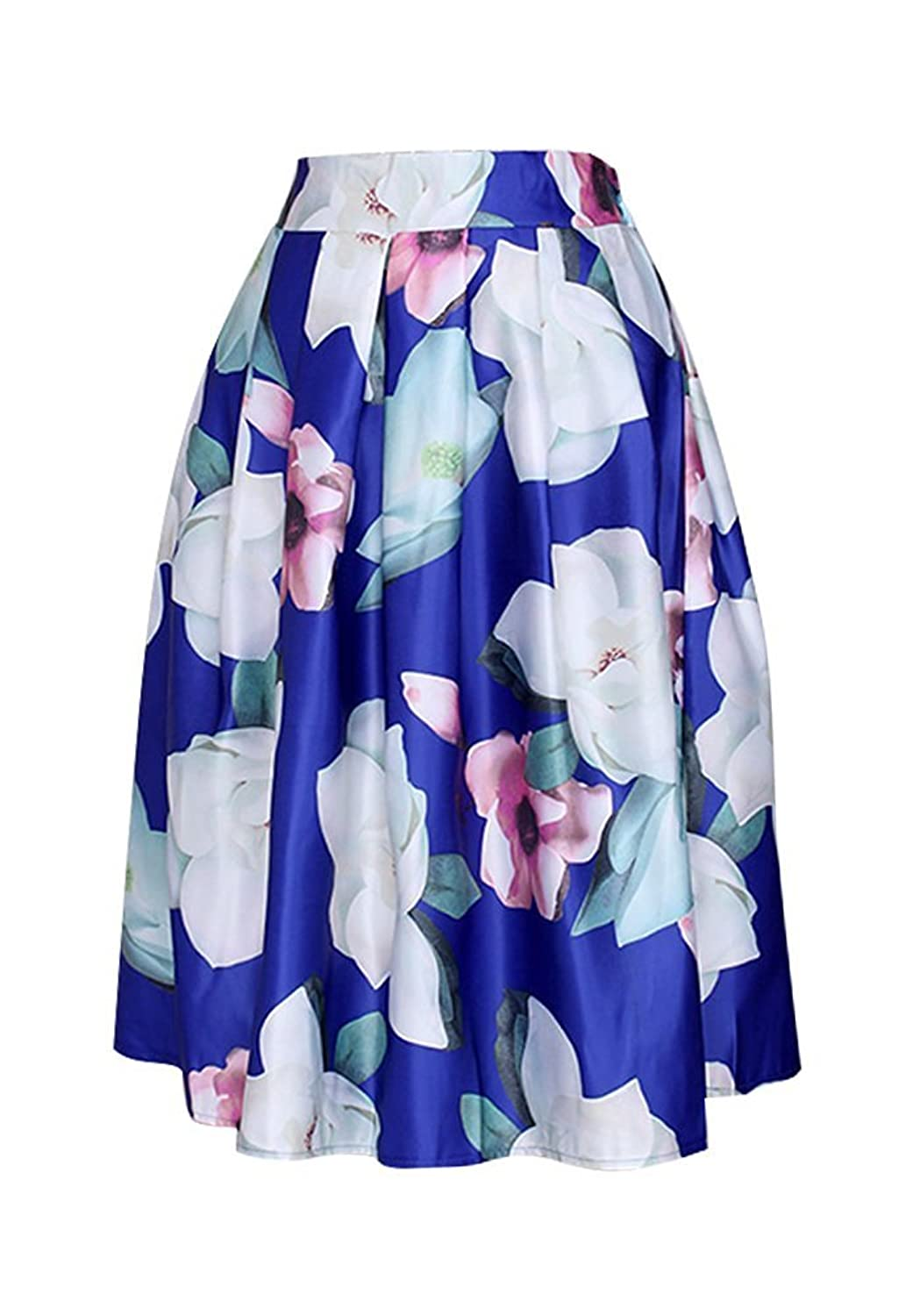 KOJHu Women's Vintage Pleated Floral Print Flared Casual Swing Skirts Blue XXL