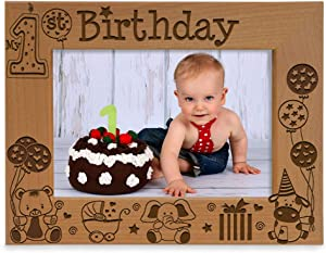 KATE POSH - My First (1st) Birthday Picture Frame - Engraved Natural Wood Photo Frame - First Birthday Gifts, First Birthday Boy, First Birthday Girl, First Birthday Decorations (5x7-Horizontal)