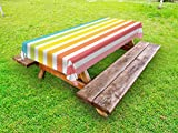 Lunarable Modern Outdoor Tablecloth, Circus Theme Rainbow Colored Image Bold Stripes with Blank Background Image Print, Decorative Washable Picnic Table Cloth, 58 X 120 inches, Multicolor
