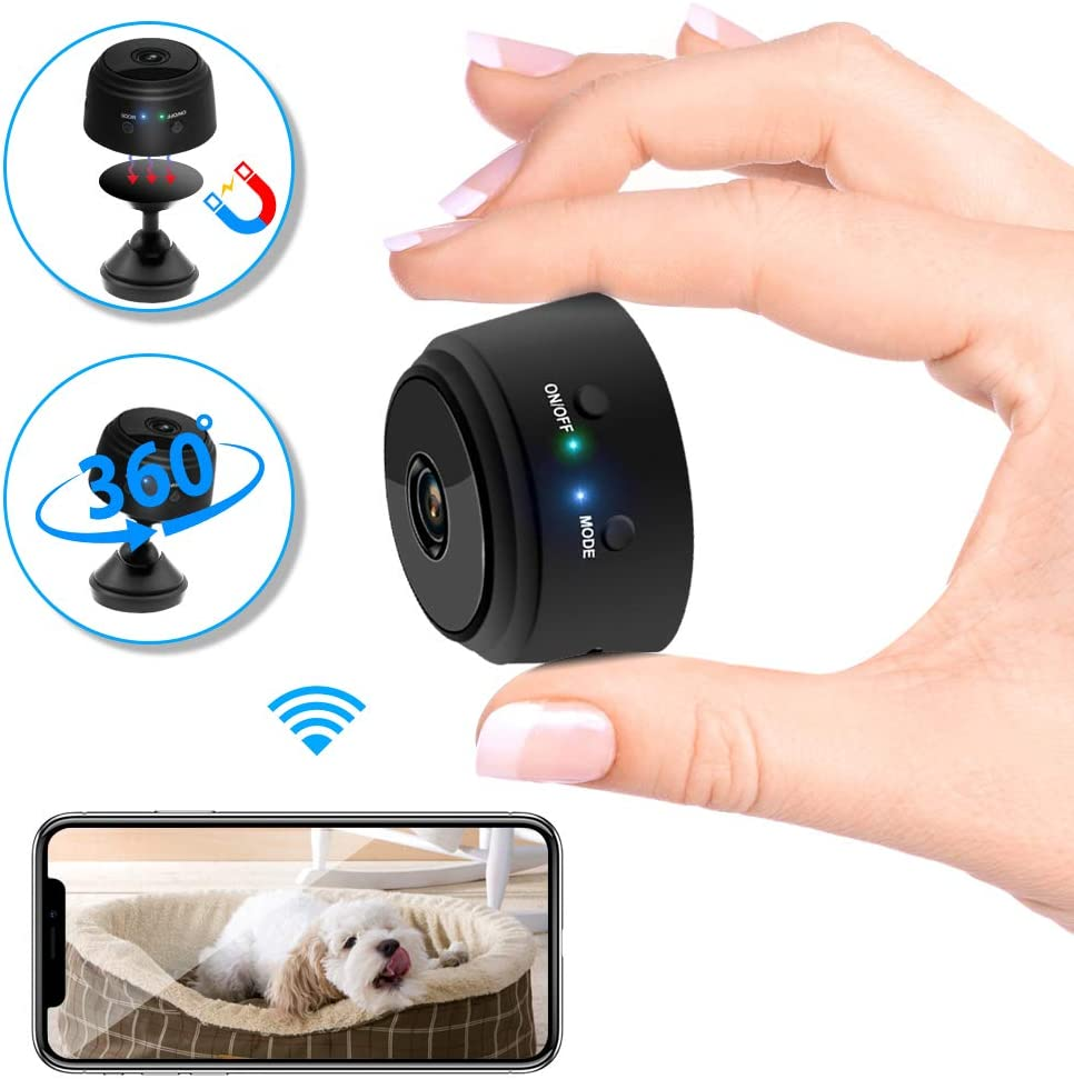 Veroyi Mini Camera WiFi Wireless 1080P Full HD Portable Home Security Small Nanny Cam with Motion Detection Night Vision
