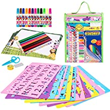 Stencils and Drawing Art Set for Kids, Ylovetoys Learning Educational Toy to Enhance Children Creativity and Imagination, Ideal Gift for Boys and Girls