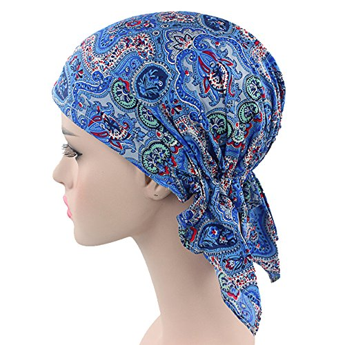 [Ever Fairy 3 Colors Pack Pre Tied Head Scarf Hat Ethnic Print Turban Headwear Women Stretch Flower Muslim headscarf (Printed] (Ethnic Hats)