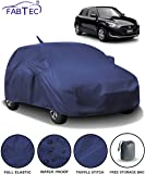 Fabtec Waterproof Car Body Cover for Maruti Swift (2018-2019) with Mirror Antenna Pocket & Storage Bag (Full Sized, Triple Stitched, Fully Elastic) (Navy Blue)