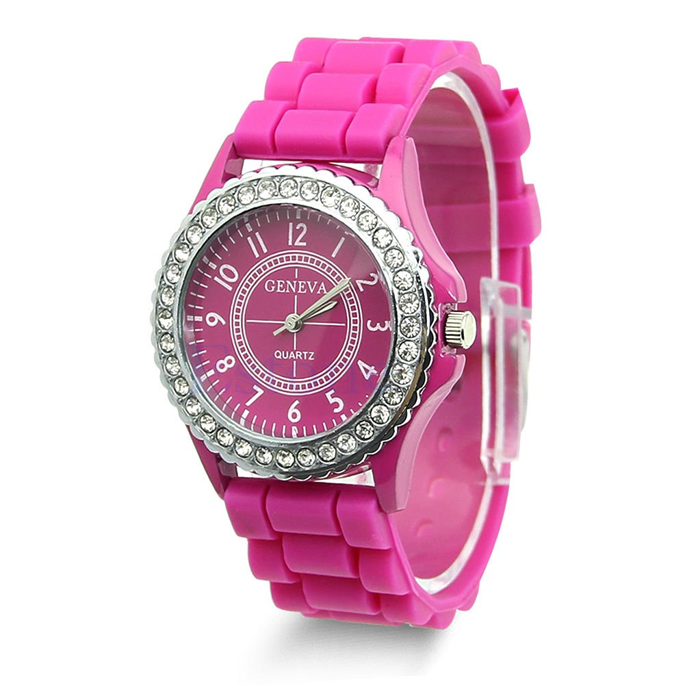 Hot Sell Geneva Silicone Women Bling Crystal Rhinestone Bezel Rubber Jelly Watch Hot Pink