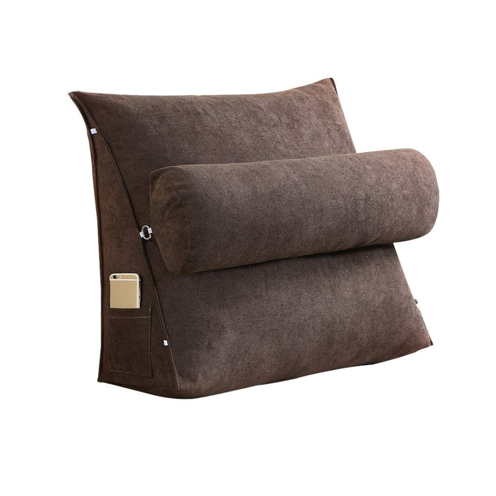 Lil Band Head Pillow Triangle Cushion, Sofa Office Bay Window Lumbar Pillow/Lumbar Support Waist/Pillow (can Be Adjusted in Three Steps) (Color : Brown, Size : 45x45x20cm)