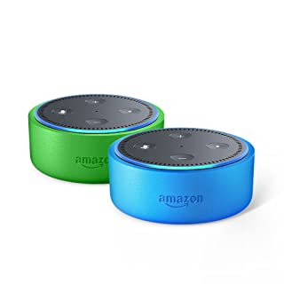 Echo Dot Kids Edition 2-Pack: Blue/Green kid-friendly case