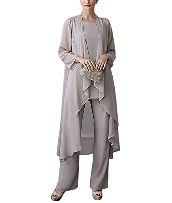 da703345e2c Ysmo Women s Chiffon Mother Of The Bride Pant Suits For Women 3 Pieces Set  Dress Plus Size  Amazon.co.uk  Clothing