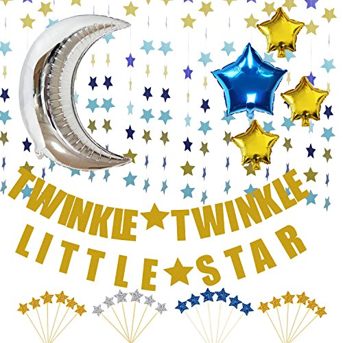 (KUNGYO Twinkle Twinkle Little Star Decorations Kit-Glittery Gold Banner-Blue Star Garland -Cupcake Toppers-Moon&Star Mylar Foil Balloons -Perfect Boy Baby Shower Birthday Party Decor)