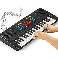 Simlug Teclado de Piano para niños, Teclado de Piano eléctrico 37Key Juguete de Instrumento Digital para niños con micrófono Alimentado por batería