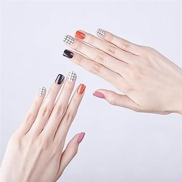 Amazon.com: Juego de 24 uñas postizas con diseño de rejilla ...