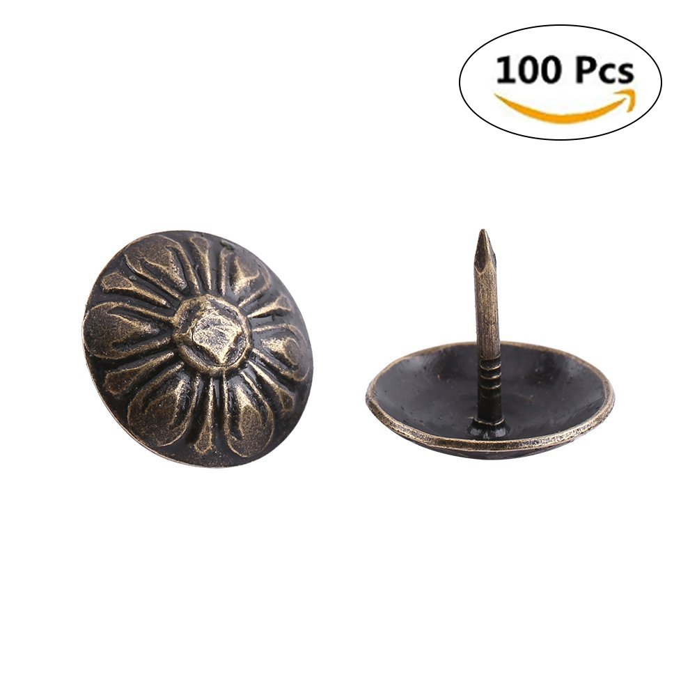 Yosoo 100pcs Antique Bronze Upholstery Nail Wood Decorative Tack Stud For Home Furniture Decor (Size:Type5-green Bronze)