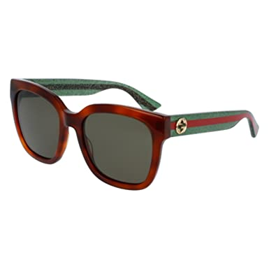 39a48835b2 Image Unavailable. Image not available for. Color  Gucci GG 0034S 003 Havana  Plastic Round Sunglasses Green Lens