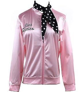 Pink Ladies Jacket 50S T Bird Danny Pink Satin Jacket Halloween Costume Neck Scarf