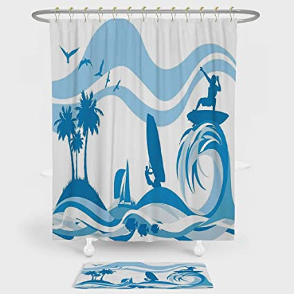 IPrint Aquatic Shower Curtain And Floor Mat Combination Set Surfer On Waves Water Sports Recreation Palms