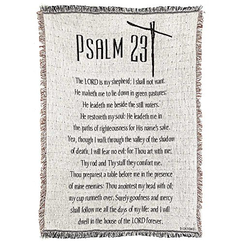 - Psalm 23 Cross on Checked White 46 x 68 All Cotton Tapestry Throw Blanket