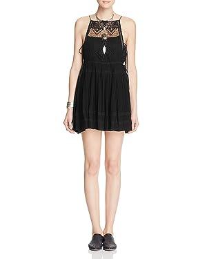 Free People Women's Emily Lace-Bodice Mini Dress