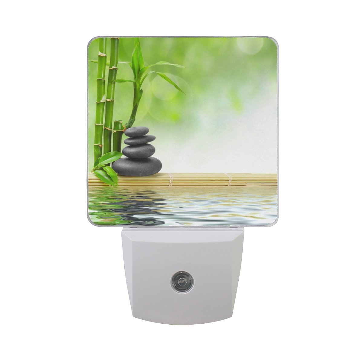 Naanle Set Of 2 Spa Zen Stone Green Bamboo Water Auto Sensor LED Dusk To Dawn Night Light Plug In Indoor for Adults