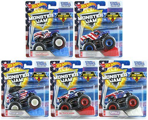 Monster Star - Hot Wheels Monster Jam Stars and Stripes Collection Set of 5 Grave Digger, Max-D, Soldier Fortune, El Toro Loco, Mohawk Warrior with Exclusive U.S. Flag Paint