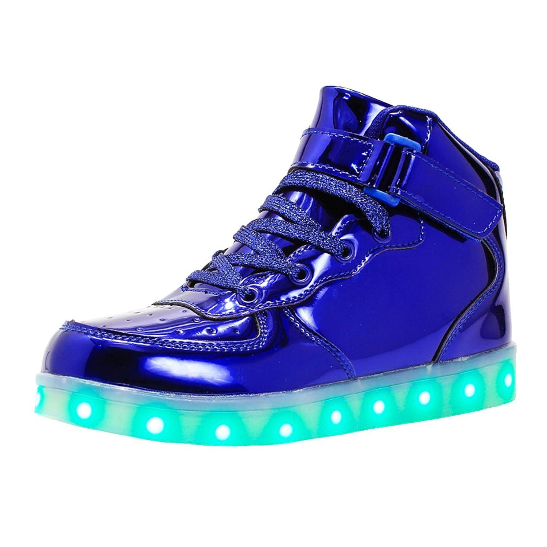 LeKuni Unisex LED Schuhe Leuchtschuhe 2017 Verbesserung 7 Farbe Blinkende Leuchtende Light Up High Top Sneakers(34 EU=35 CN, Schwarz)
