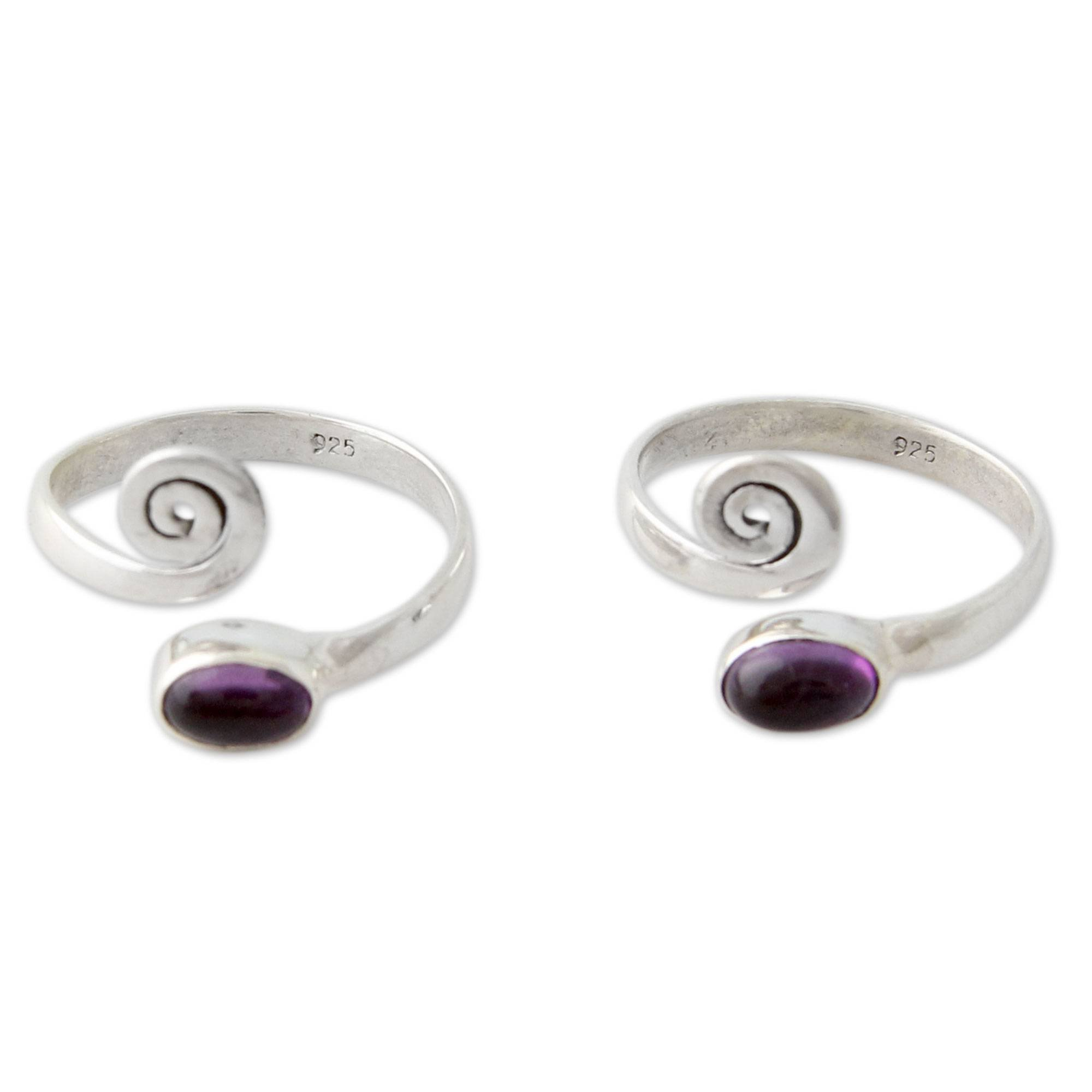 NOVICA .925 Sterling Silver and Cabochon Amethyst Toe Rings (Pair), Curls'