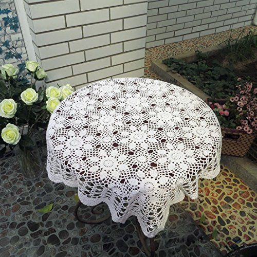 Crochet Lace Fabric - vanyear Handmade Crochet Cotton Lace Table Doily Tablecloth Chair Back Covers, 31 inch White