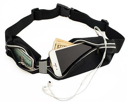 Sora Cangurera ultra ligera Premium Cinturón Deportivo Negro con 2 Bolsas Cinturón  para hacer ejercicio 206688a144d9