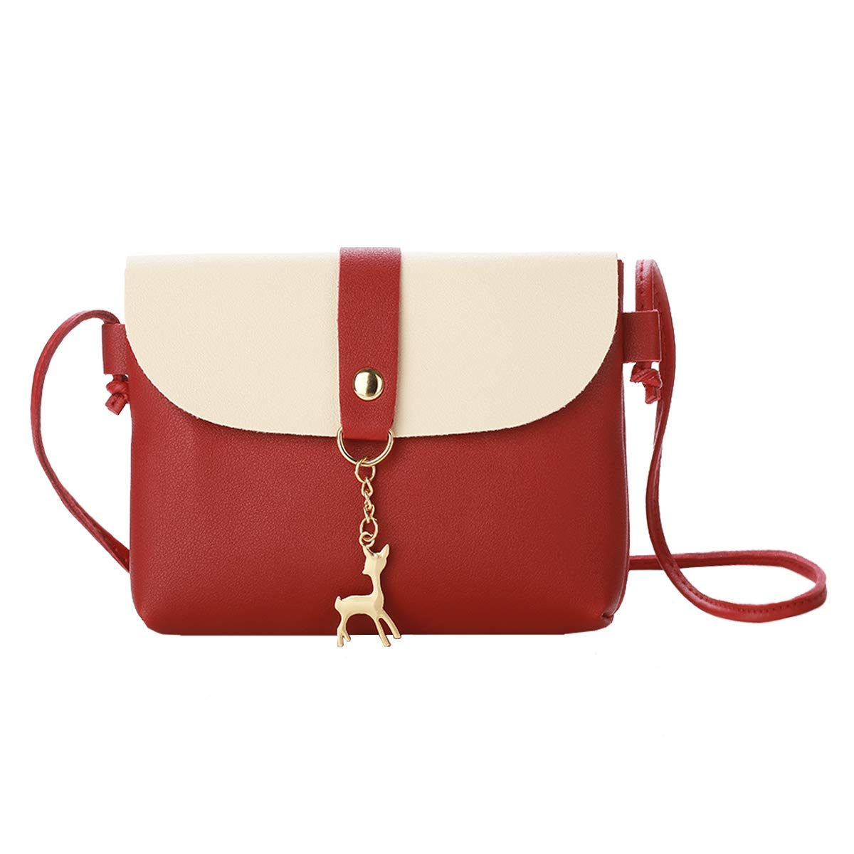 Small Crossbody Purse for Women With Pendant,PU Leather Crossbody Bag With Strap Cell Phone Bag for Girl,Red by Lanling (Image #1)