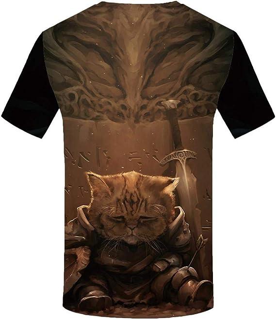 Htekgme - Camiseta de manga corta para hombre, diseño de gato ...