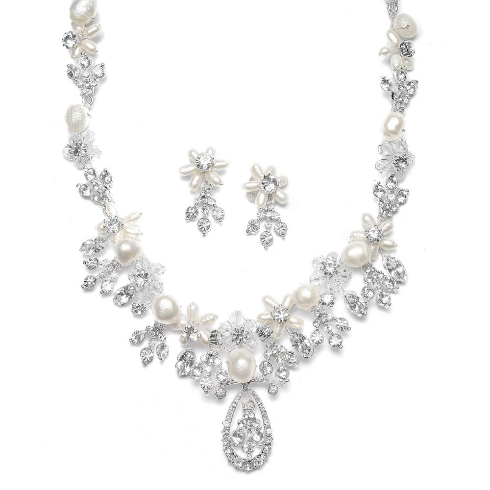 Mariell Freshwater Pearl and Austrian Crystal Handmade Bridal Necklace Earrings Set for Brides