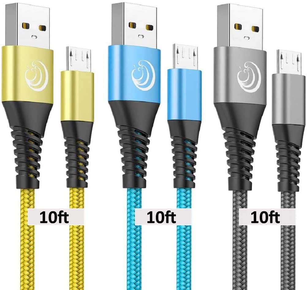 Micro USB Cable, 10FT Android Charger Cable Yosou Charging Cord 3Pack Extra Long Charging Cables Nylon Charger Cord for Samsung Galaxy S7 S6 S5 J7 J7V J5 J3 J3V Note 5, LG K40, Moto G5, PS4, Tablet