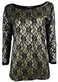 August Silk Women's Two-Tone Bonded Lace Knit Top (M, Black/Gold)