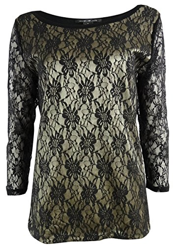 August Silk Women's Two-Tone Bonded Lace Knit Top (M, - Lace Gold Two Tone
