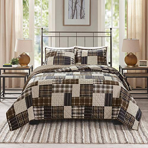 - 3 Piece Woody Brown Lodge Style Patchwork Quilts Queen Size, Traditional Warm Cabin Look Plaid Pattern Bedding Sets Shams Zipper Closures Decent Design Reversible Squares Hues Beige Coverlet Bed Sets