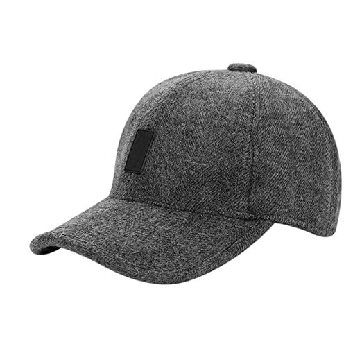 44e11c47547 Image Unavailable. Image not available for. Color  LONTG Mens Warm Wool  Woolen Tweed Peaked Baseball Caps Hat with Fold Earmuffs Warmer